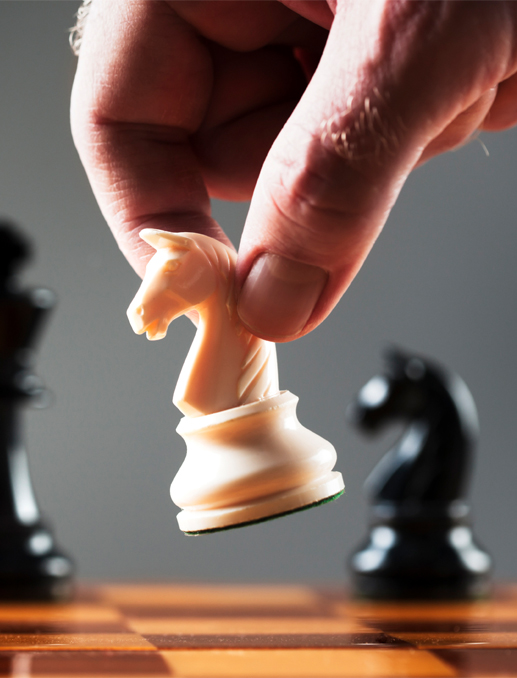 Man moving a chess image